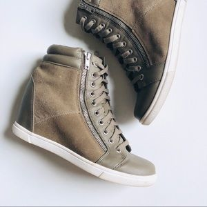 DKNY Suede & Leather Wedge Sneakers